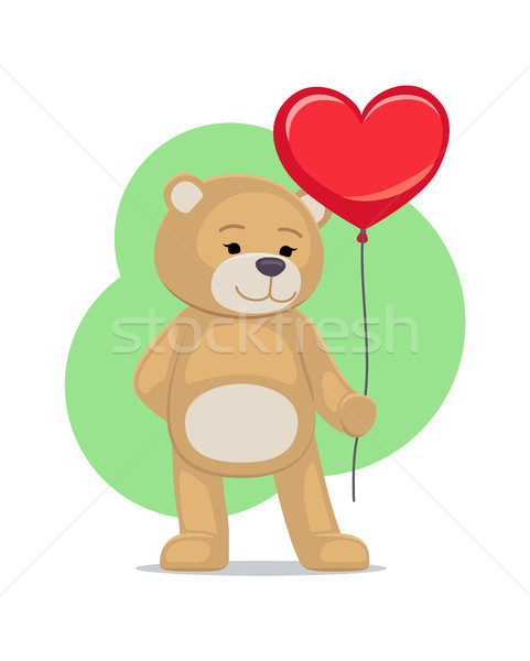 I Love You Poster Adorable Teddy Gently Hold Heart Stock photo © robuart