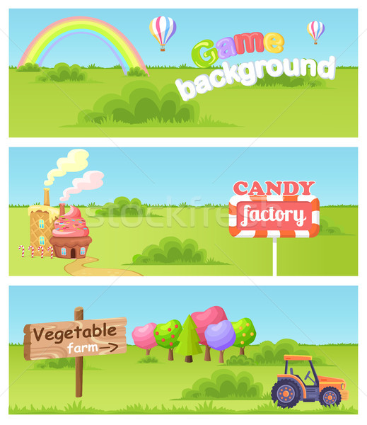 Fairy Cartoon Flat Vector Concept Landscapes Set Stock photo © robuart