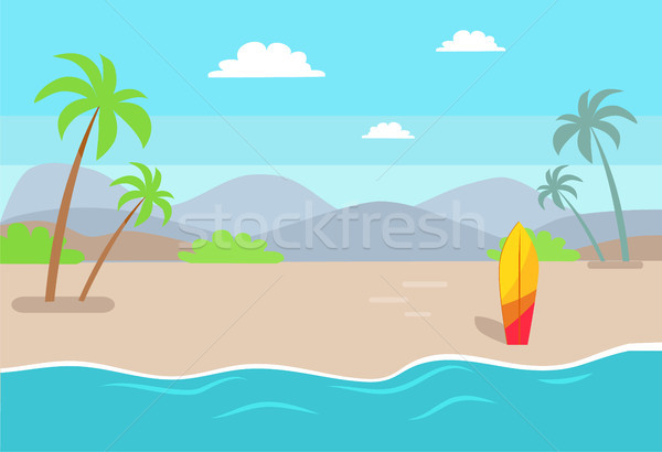 Empty Beach near Sea with Tall Palms and Surfboard Stock photo © robuart
