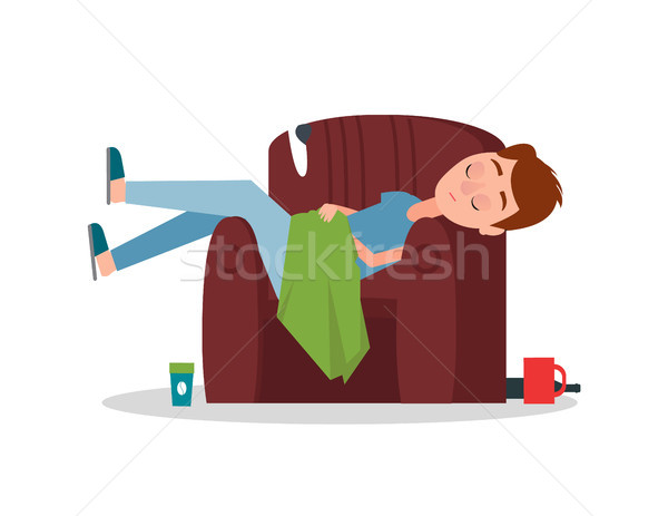 Careless Boy Sleeping in Armchair Scattered Things Stock photo © robuart