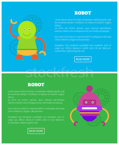 Friendly Robots for Human Help Internet Pages Set Stock photo © robuart