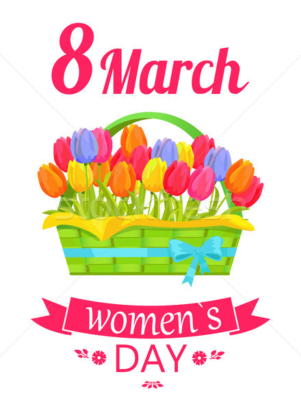 8 March Basket and Tulips Vector Illustration Stock photo © robuart