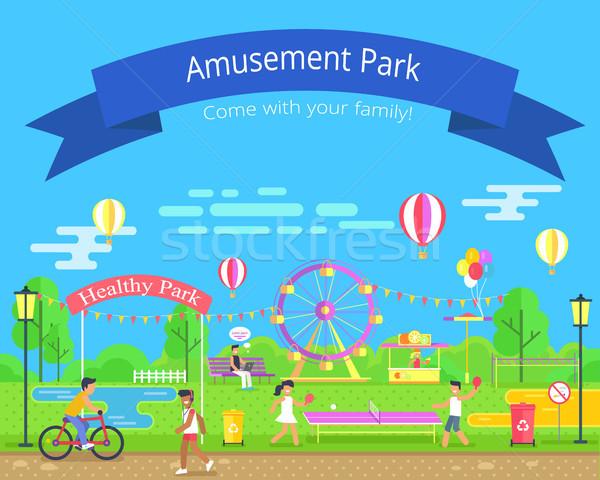 アミューズメント 健康 公園 子供演奏 卓球 ストックフォト © robuart