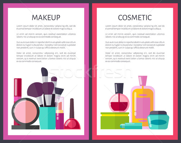 Make-up cosmetische posters make ingesteld collectie Stockfoto © robuart