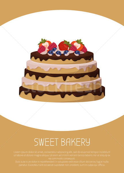 Sweet Bakery with Fruits, Vector Illustration Stock photo © robuart