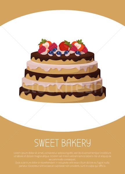 édes pékség gyümölcsök poszter torta eprek Stock fotó © robuart