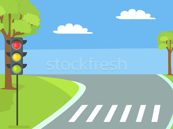 Pedestrian Crossing with Traffic Light and Road Stock photo © robuart