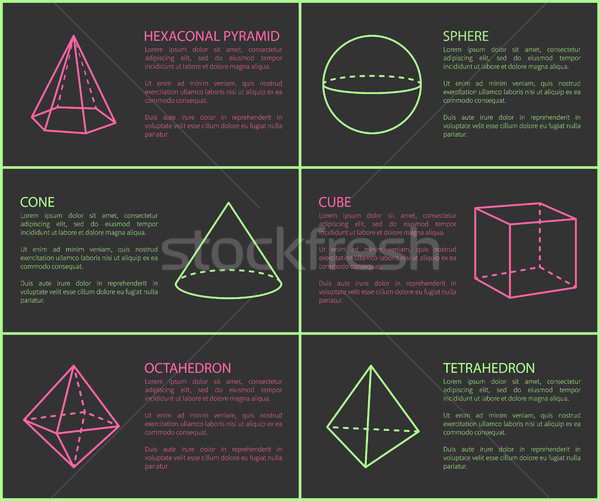 Hexagonal Pyramid and Sphere Vector Illustration Stock photo © robuart