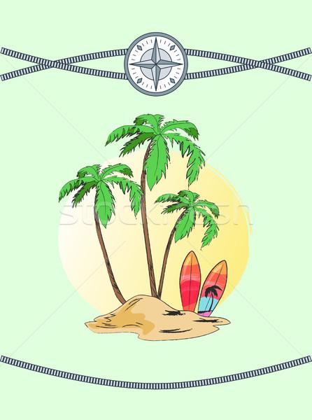 Wild Island with Three Plams Vector Illustration Stock photo © robuart