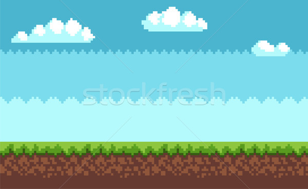 Landscape Pixel Art Style Blue Sky, White Clouds Stock photo © robuart