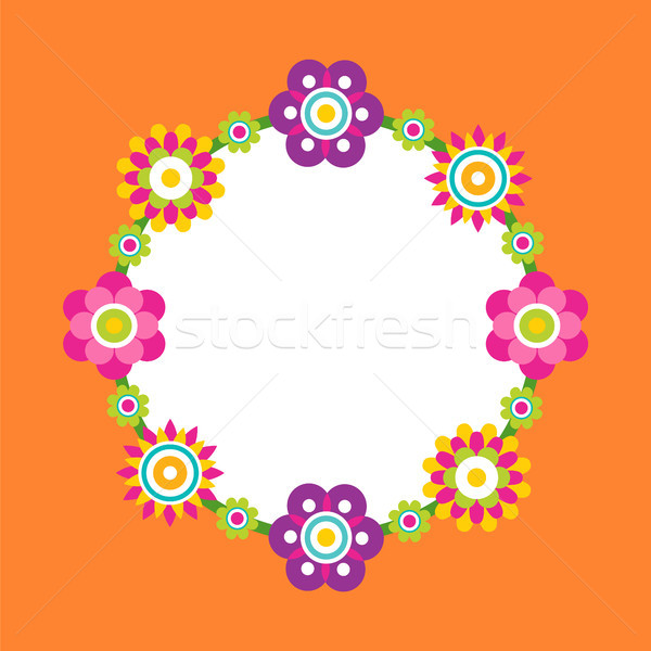 Photo Frame Made of Abstract Flower Blossoms, Vector Stock photo © robuart