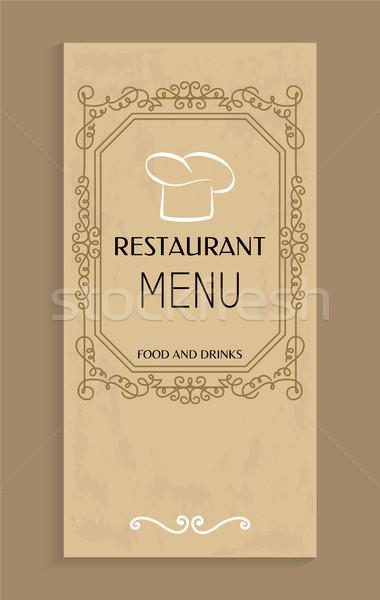 étterem menü étel italok terv szakács sapka Stock fotó © robuart