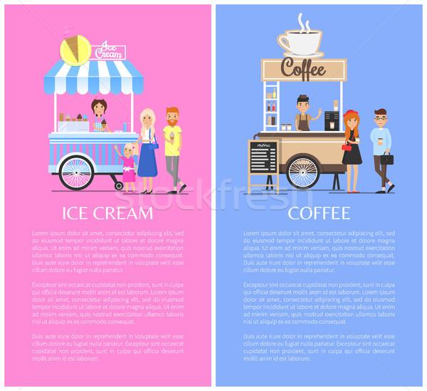 Stockfoto: Ijs · koffie · vector · illustraties · banner · moderne
