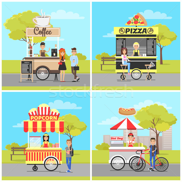 Pizza and Popcorn, Hot Dog and Coffee Carts Set Stock photo © robuart