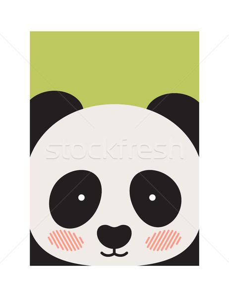 Round Panda s Face Isolated on Green Backdrop Stock photo © robuart