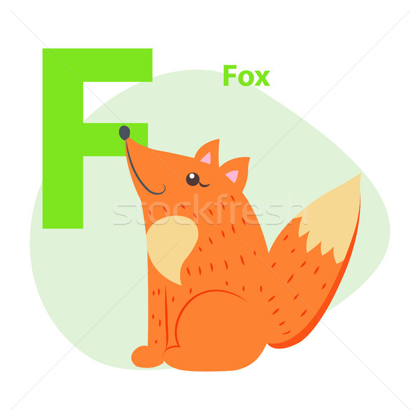 Zoo lettre cute Fox cartoon vecteur Photo stock © robuart