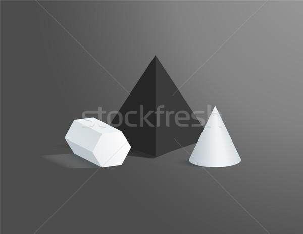 Prisma cono nero piazza piramide geometrica Foto d'archivio © robuart