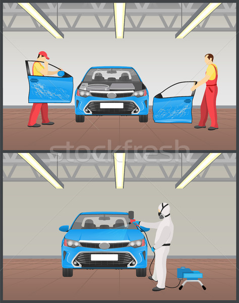Automobile Painting and Repairing Colorful Poster Stock photo © robuart