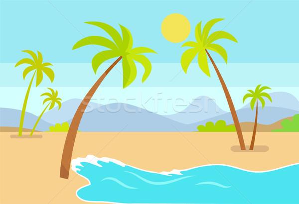 Stock fotó: Tengerpart · poszter · trópusi · tengerpart · tenger · homok · pálmafák