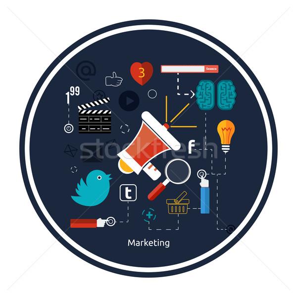 Foto stock: ícones · marketing · digital · projeto · elegante · megafone