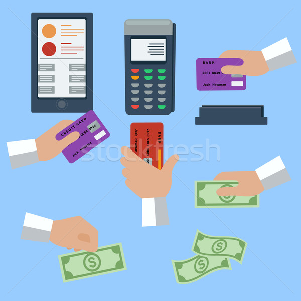 Icon set of cash and cashless payment methods Stock photo © robuart