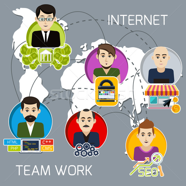 Distant work of freelancers on a joint project Stock photo © robuart