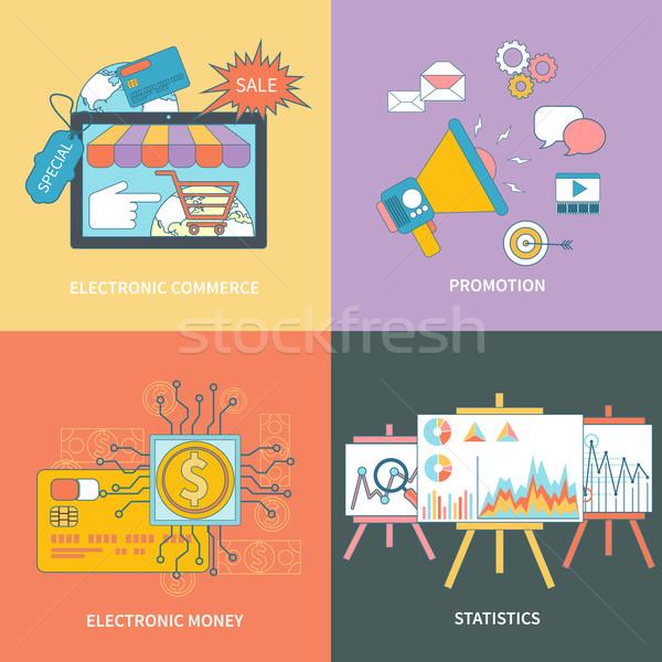 電子 コマース 統計値 プロモーション セット バナー ストックフォト © robuart