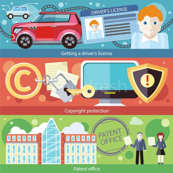 Ingesteld bestuurder licentie octrooi auteursrecht bescherming Stockfoto © robuart