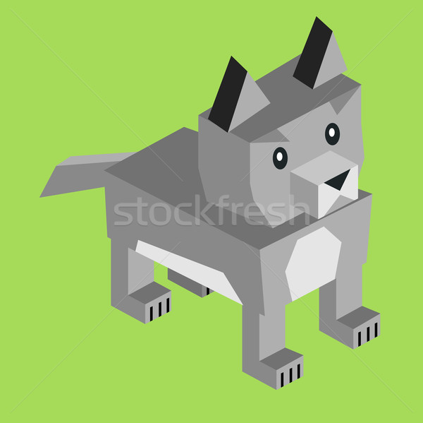 Wild Animal Wolf Isometric 3d Design Stock photo © robuart