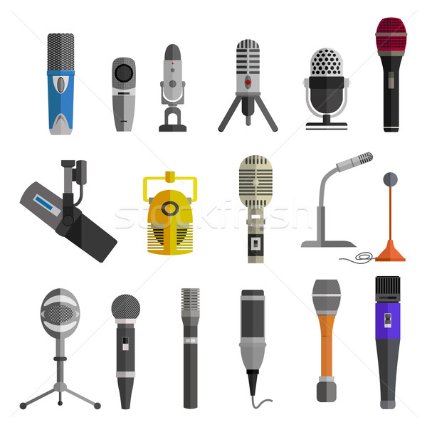 Microphone Set Design Flat Isolated Stock photo © robuart