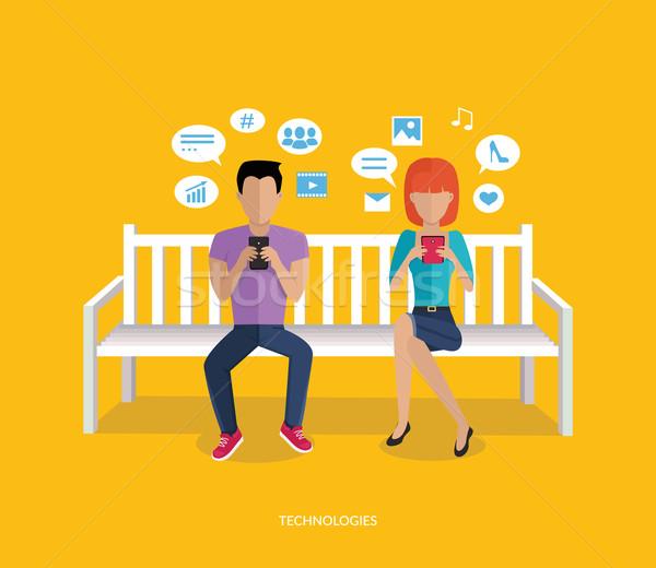 интернет зависимость технологий люди человека Сток-фото © robuart