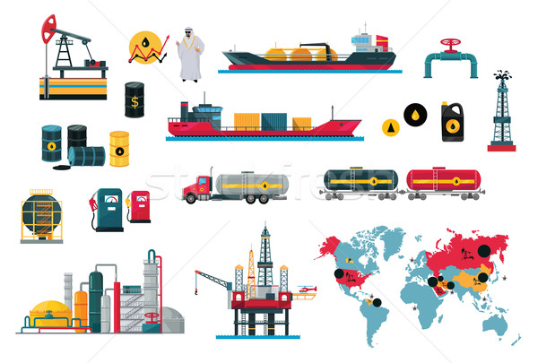Set of Icons Concept Oil Design Stock photo © robuart