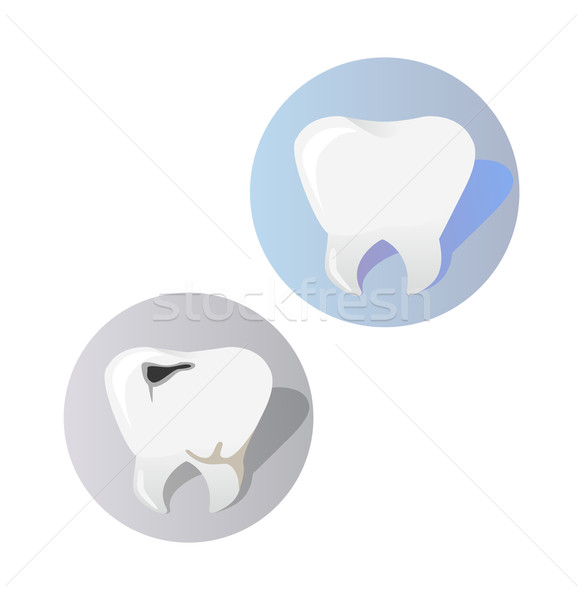 Healthy and Diseased Tooth Design Cartoon Stock photo © robuart
