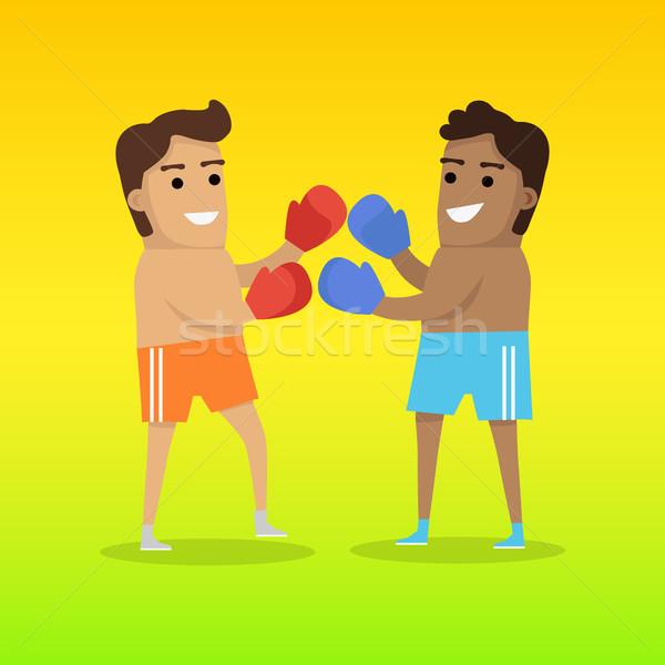 2 男 ボクシング スポーツ バナー ショートパンツ ストックフォト © robuart
