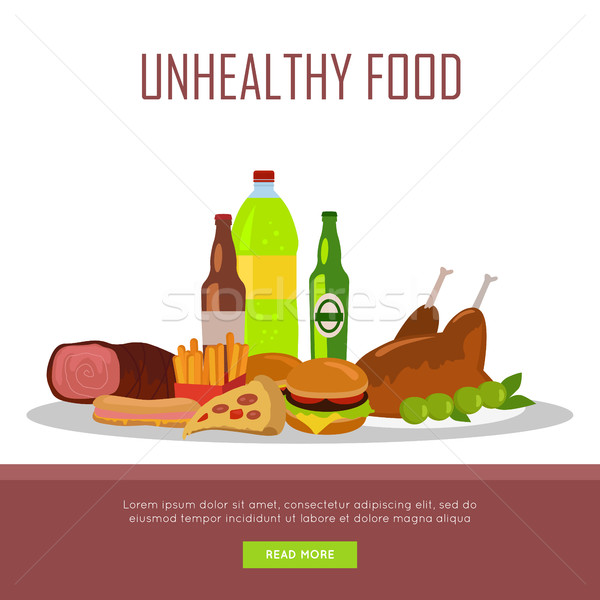 Alimentos poco saludables banner aislado blanco consumo Foto stock © robuart