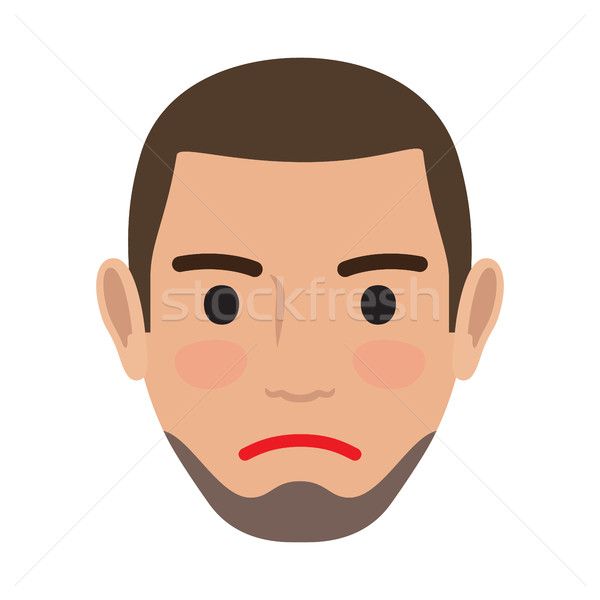 Indifferent Man Avatar User Pic. Vector Front View Stock photo © robuart