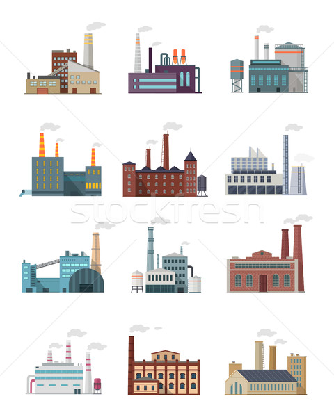 Set of Industry Manufactory Building Icons. Stock photo © robuart