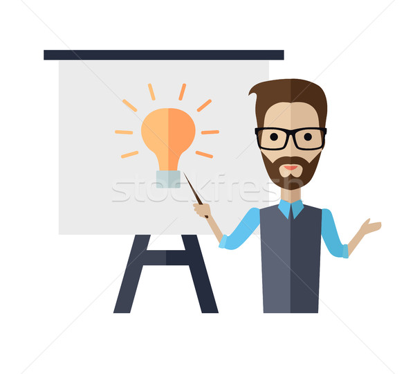 Lecturer Making a Presentation Near Whiteboard Stock photo © robuart