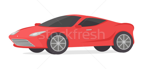 Stock photo: Red Coupe Detailed Sport Car Isolated on White