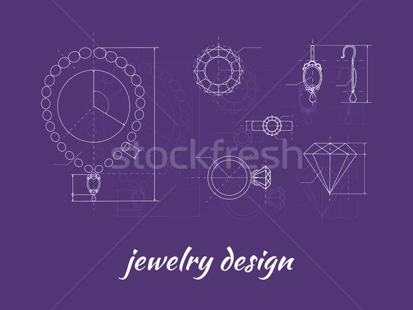 ювелирные дизайна баннер кольца серьга ожерелье Сток-фото © robuart