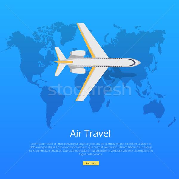 Воздушные путешествия плоскости Мир карта веб баннер авиация Сток-фото © robuart