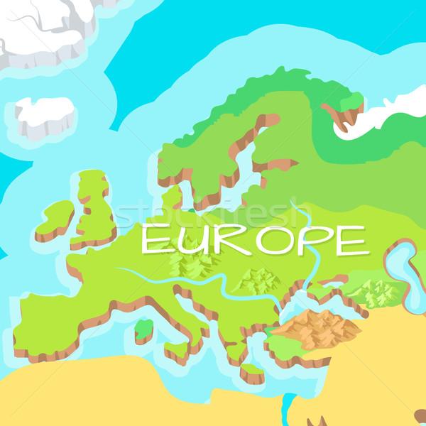 Európa vektor rajz megkönnyebbülés térkép hegyek Stock fotó © robuart