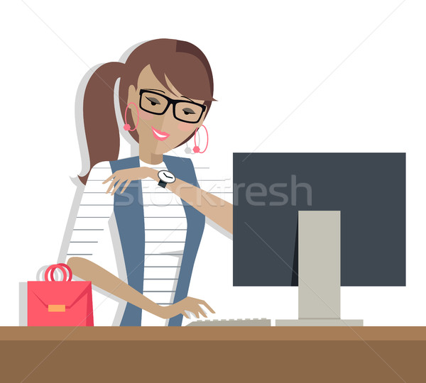 Business Woman Works on His Desktop Stock photo © robuart