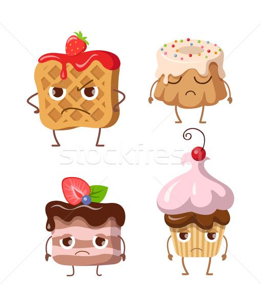 Foto stock: Dulces · establecer · gofre · tres · frutas