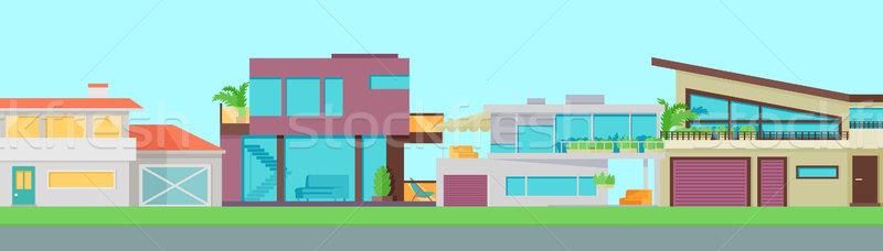 Zdjęcia stock: Zestaw · domów · budynków · architektury · ulotki · plakat