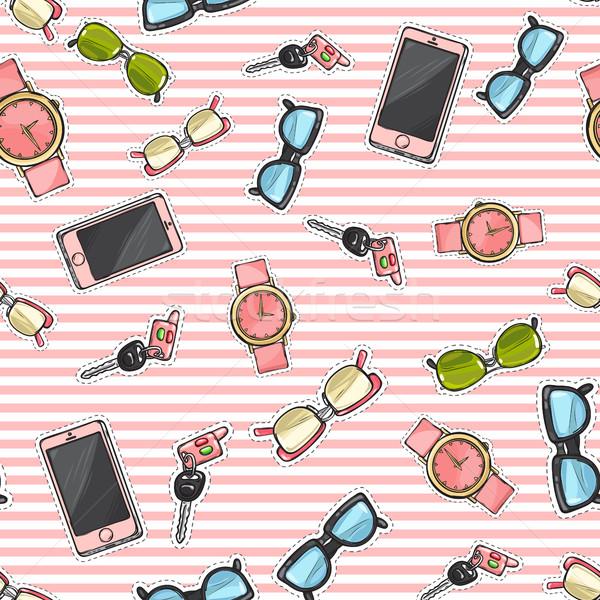 Set of Phones, Watches, Sunglasses, Car Keys. Stock photo © robuart