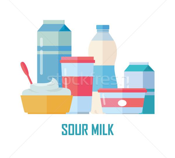 Traditionnel aigre lait différent Photo stock © robuart