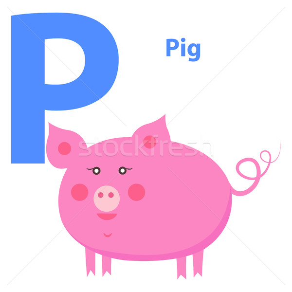 Cute Pink Pig on Alphabet Icon Character P Drawn Stock photo © robuart