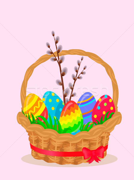 Stock photo: Paschal Wicker Basket With Easter Eggs Vector