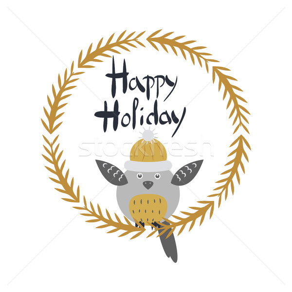 Happy Holiday Card with Owl Bird in Round Frame Stock photo © robuart